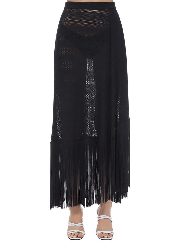 ROKH Fringed Nylon Knit Midi Skirt in navy