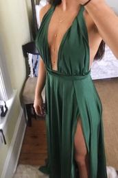 dress,emerald green dress,halter dress,deep v dress,silk
