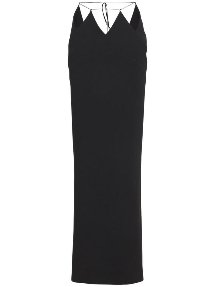 MÔNOT Cut-out Silk Satin Long Skirt in black