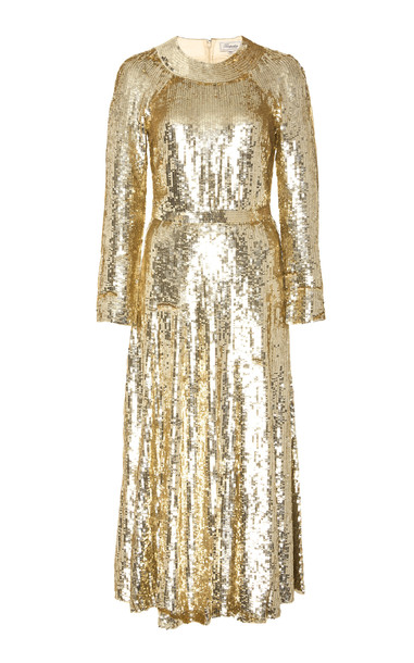 Temperley London Ray Sequined-Tulle Dress in gold