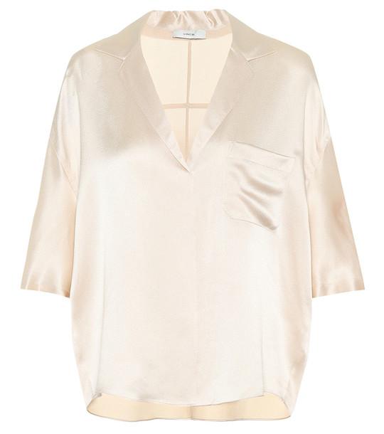 Vince Silk satin pajama shirt in beige