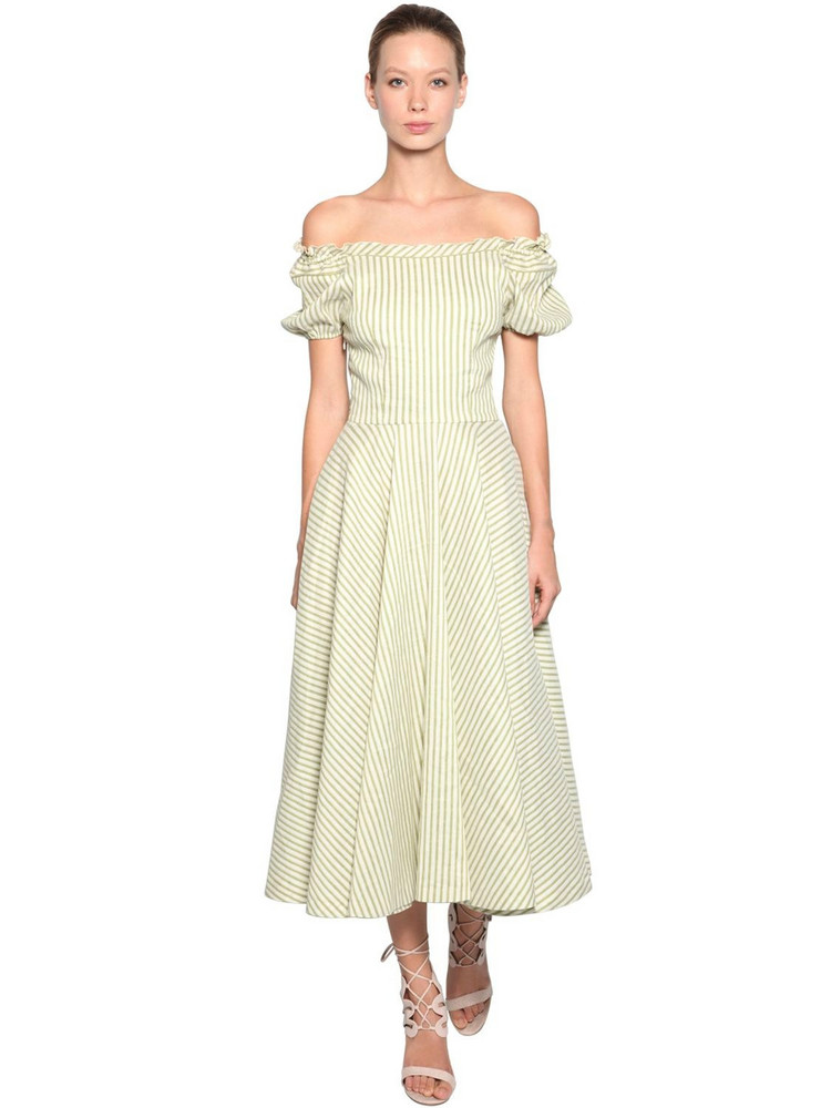 LUISA BECCARIA Off The Shoulder Linen Blend Dress in green / white