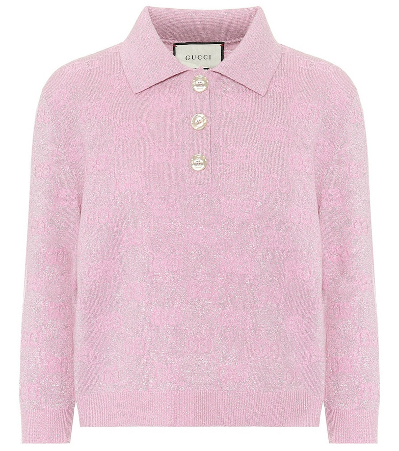 Gucci GG cropped wool-blend sweater in pink