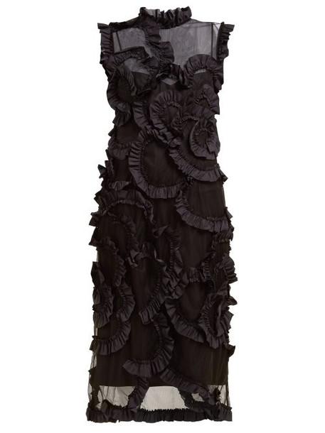 4 Moncler Simone Rocha - Ruffled Tulle Midi Dress - Womens - Black