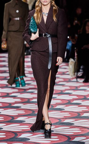Miu Miu High-Rise Side Slit Maxi Skirt in brown