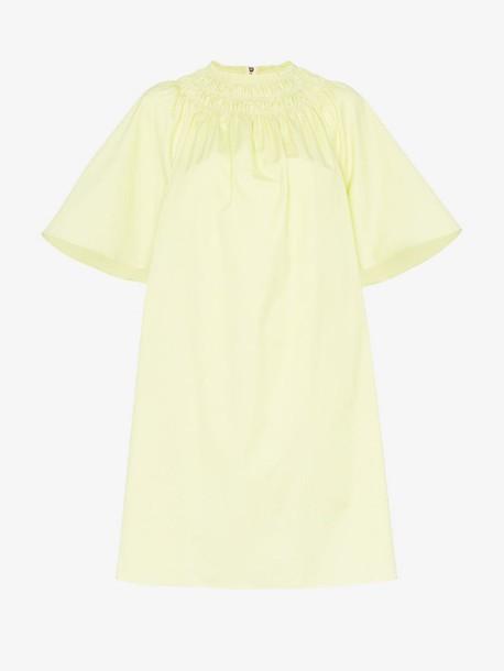 Roksanda lia mock neck cotton dress in yellow