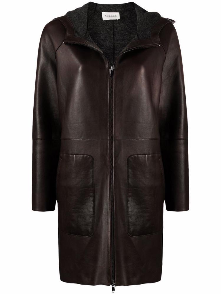 P.A.R.O.S.H. P.A.R.O.S.H. hooded lambskin coat - Brown