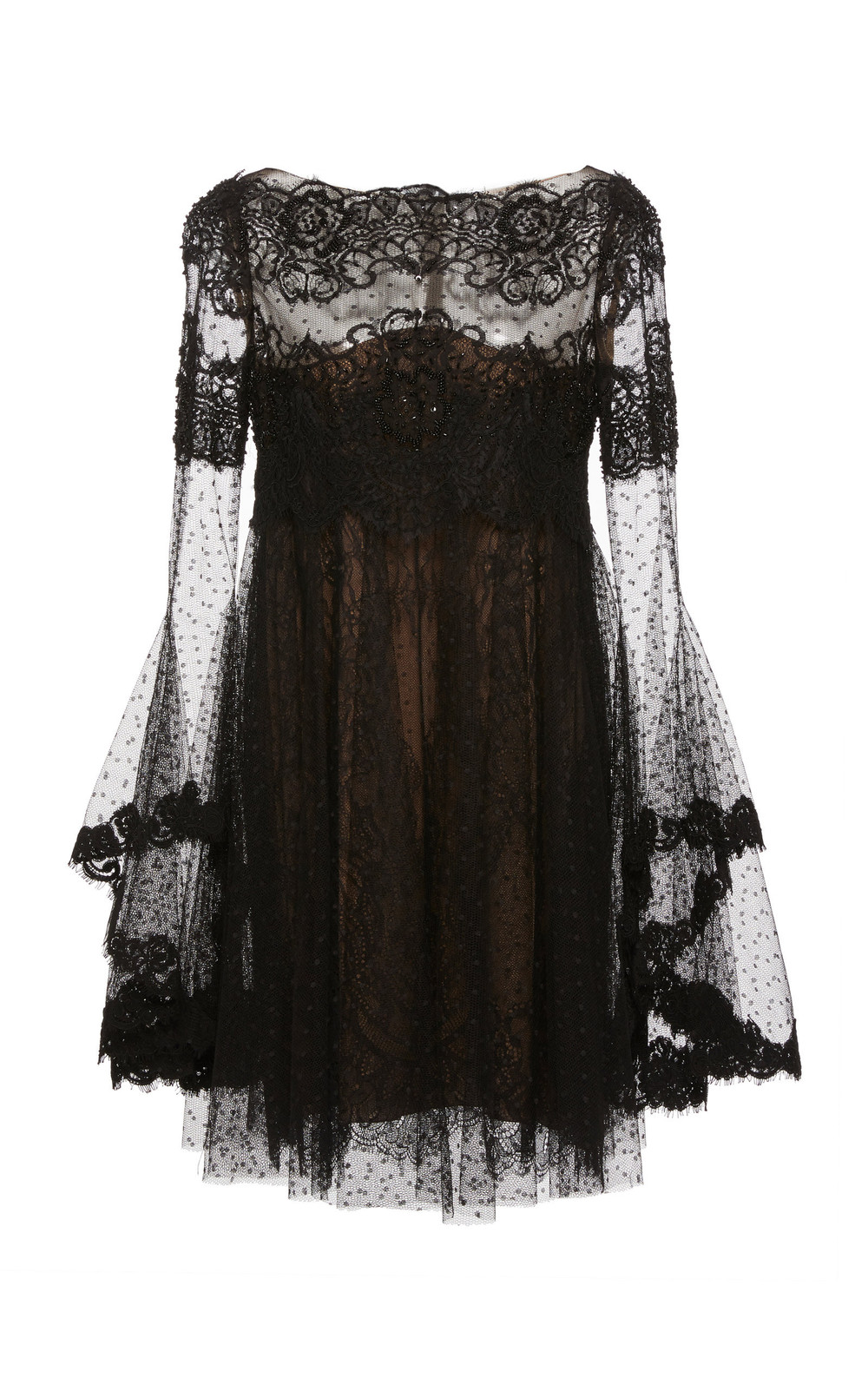 Marchesa Point D'Espirit Tulle and Lace Mini Dress in black