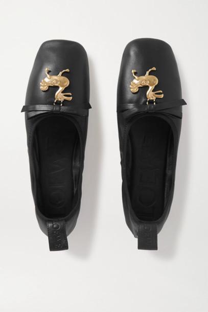 Loewe - Embellished Leather Ballet Flats - Black