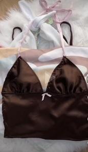 shirt,tank top,halter top,bow,backless,brown,pink