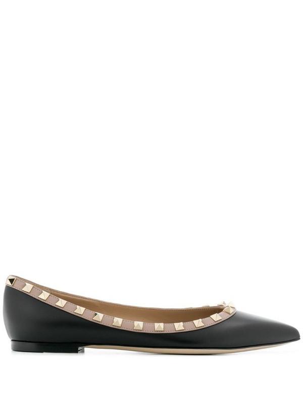Valentino Garavani Rockstud-embellished ballerina shoes in black