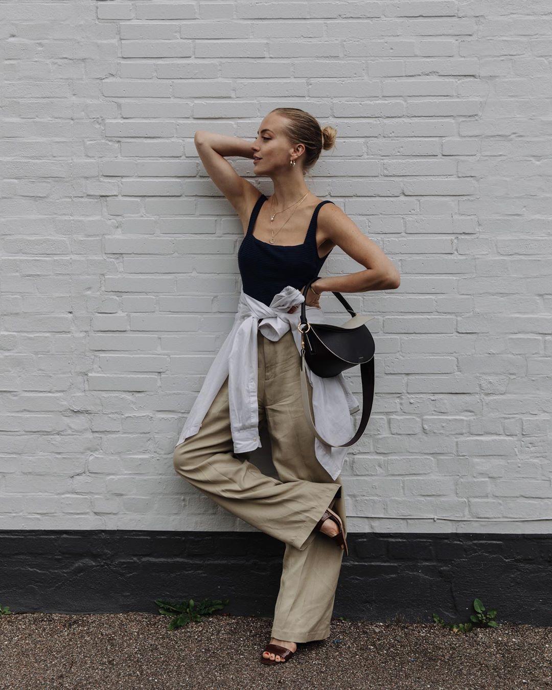 pants wide-leg pants sandal heels tank top black bag