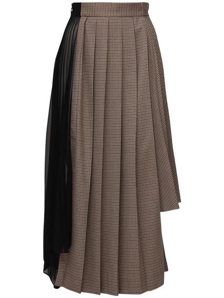 ROKH Asymmetrical Pleated Midi Skirt in brown / multi