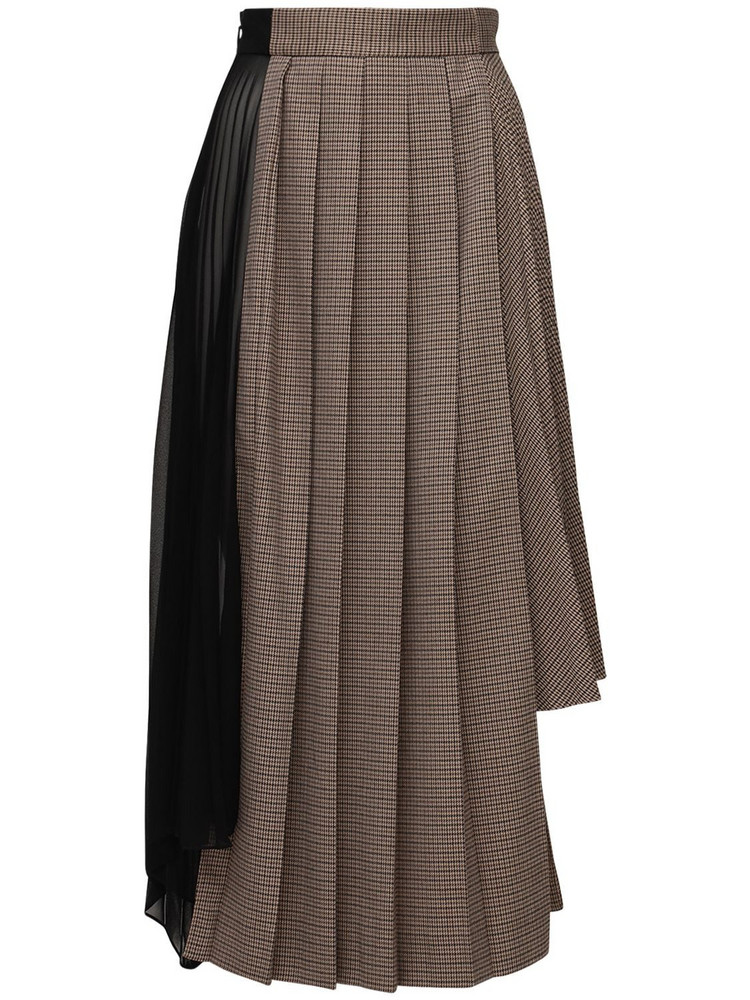 ROKH Asymmetrical Pleated Midi Skirt in brown / multi