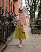 skirt,maxi skirt,tulle skirt,pumps,bucket bag,pink coat,white shirt,polka dots