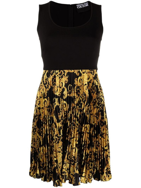 Versace Jeans Couture pleated baroque dress in black