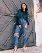 top,shirt,mules,denim,ripped jeans,straight jeans,casual