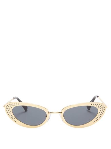 Le Specs - X Adam Selman The Royale Cat Eye Metal Sunglasses - Womens - Gold
