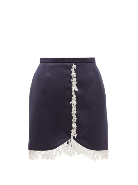 Christopher Kane - Pearl Drop Fringe Satin Mini Skirt - Womens - Navy