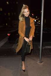 coat,karlie kloss,model off-duty,top,pants,fashion week