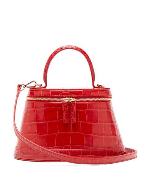 By Far - Annie Crocodile Effect Leather Cross Body Bag - Womens - Red