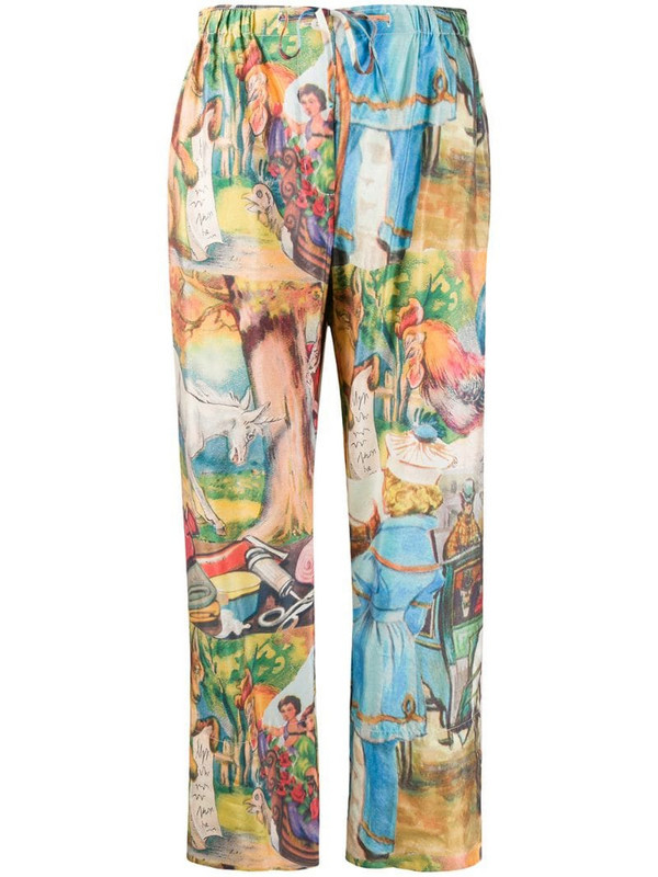 Soulland illustration print straight-leg trousers in neutrals