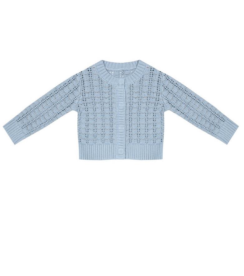 Stella McCartney Kids Baby Shell cotton-blend cardigan in blue