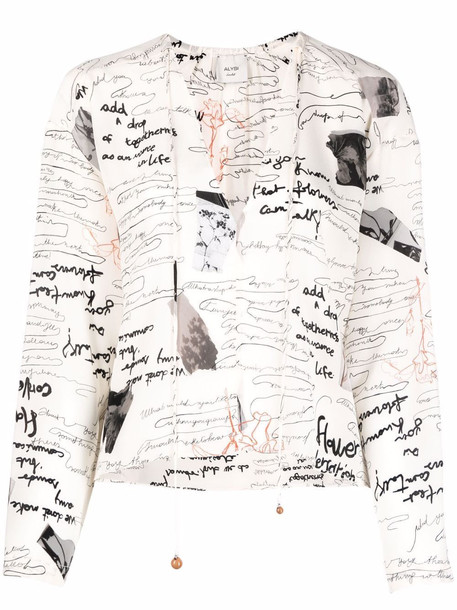 Alysi illustrative-print tie-neck blouse - Neutrals