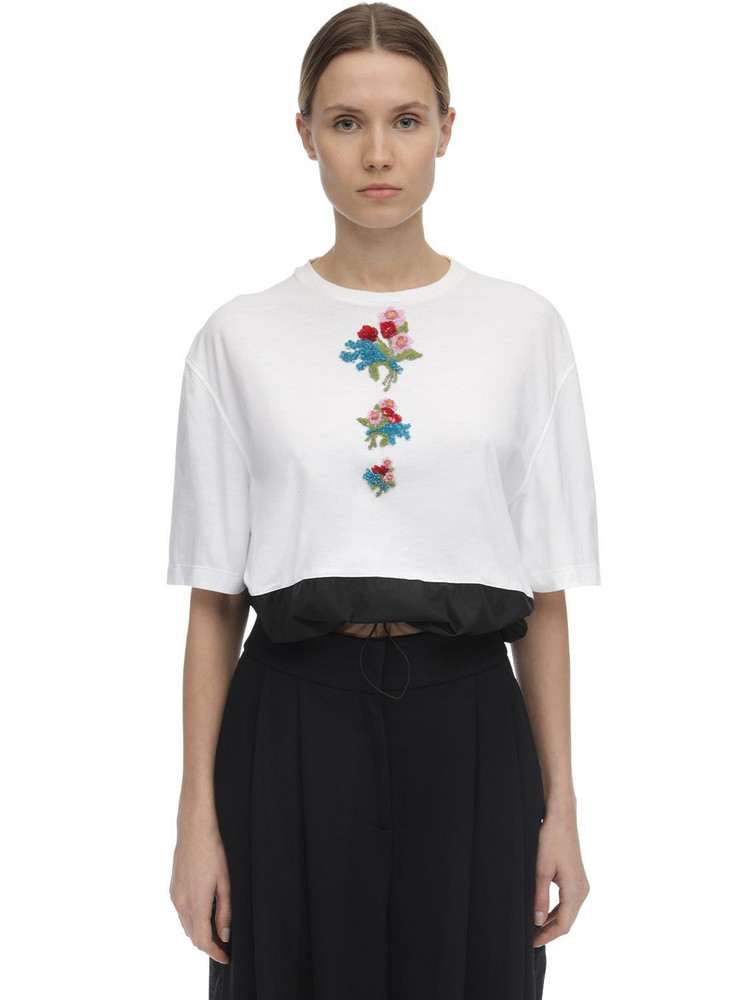 NO KA'OI Gentle Rose Top W/embroidery in white