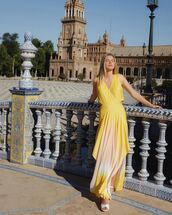 dress,yellow dress,asymmetrical dress,sleeveless dress,maxi dress,white sandals