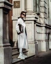 coat,white coat,long coat,oversized coat,white sneakers,socks,adidas,white pants,brown bag,snake print,hoodie,black sunglasses