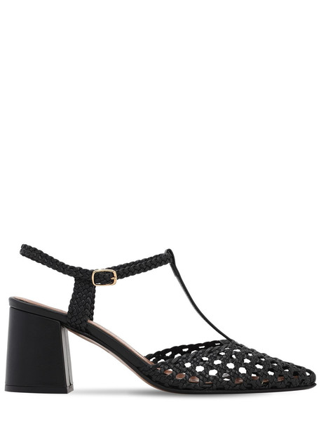 SOULIERS MARTINEZ 65mm Woven Leather T Bar Pumps in black