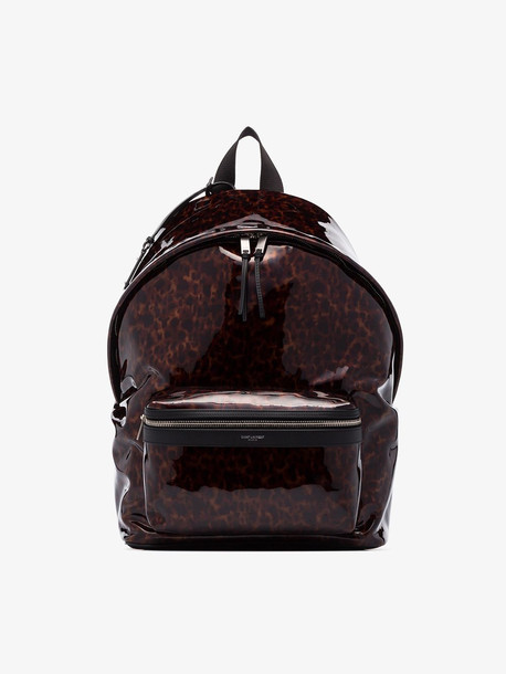 Saint Laurent Brown Tortoiseshell PVC backpack