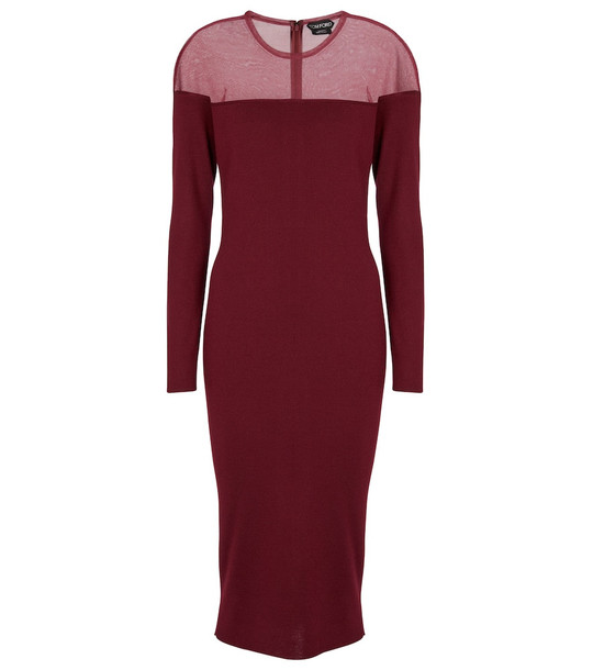 Tom Ford Cashmere and silk midi dress in red