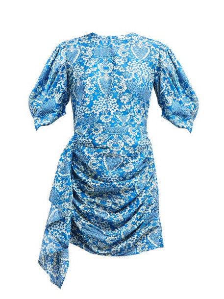 Rhode - Pia Floral Print Ruched Poplin Mini Dress - Womens - Blue Print
