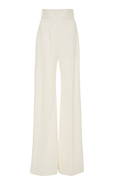 Brandon Maxwell Crepe Wide-Leg Pants in white