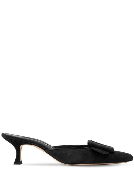 MANOLO BLAHNIK 50mm Maysale Suede Mules in black