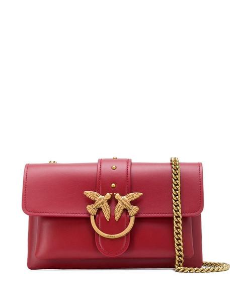 Pinko double bird ring shoulder bag in red