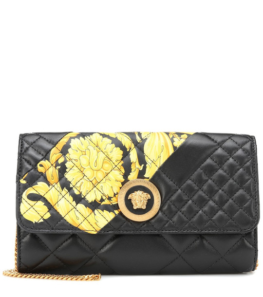 Versace Printed quilted leather clutch in black