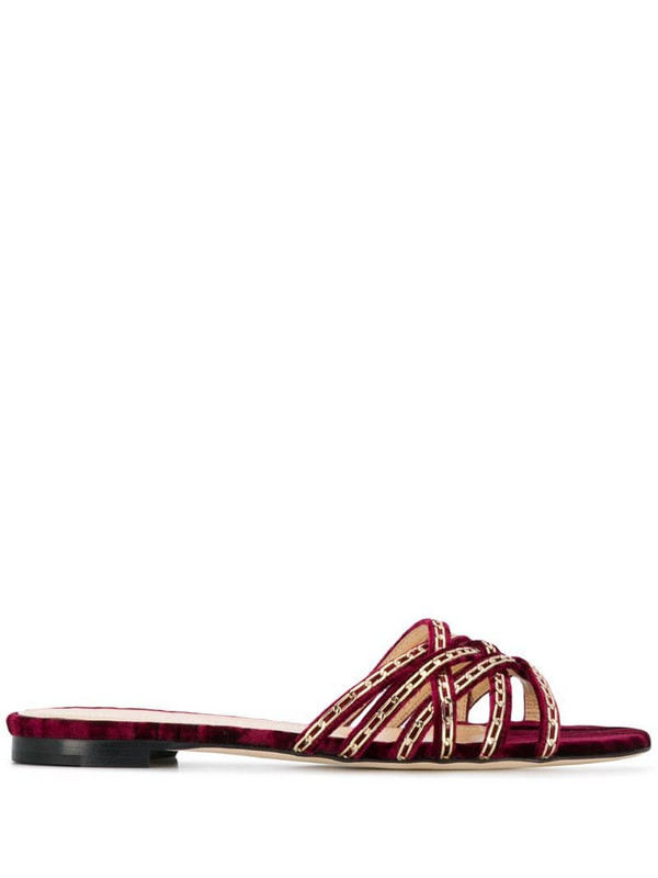 Chloe Gosselin Nina chain-trimmed velvet slippers in red
