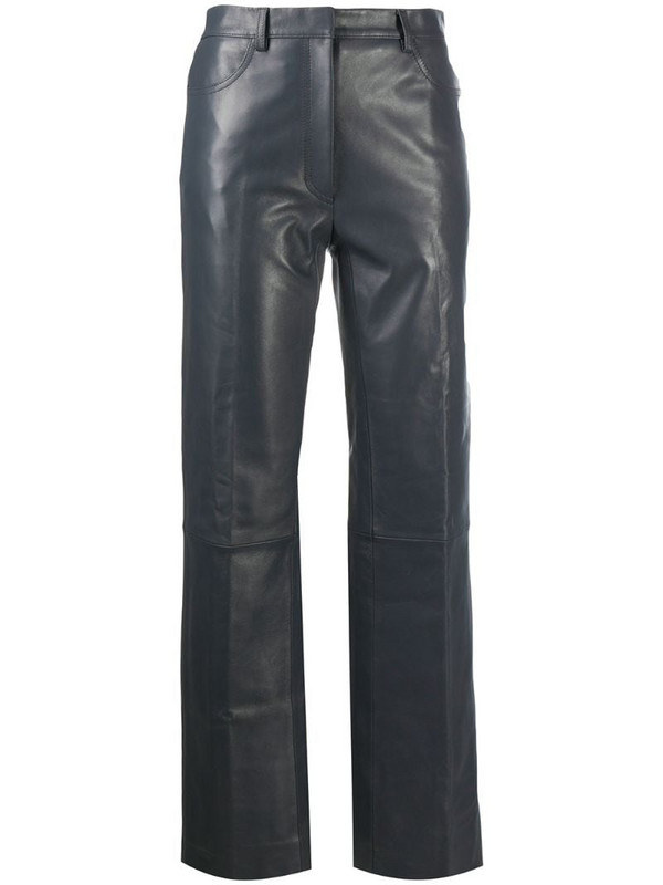 Sandro Paris cropped leather trousers in grey