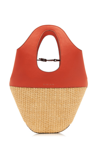 Danse Lente Small Leather and Raffia Tote in red
