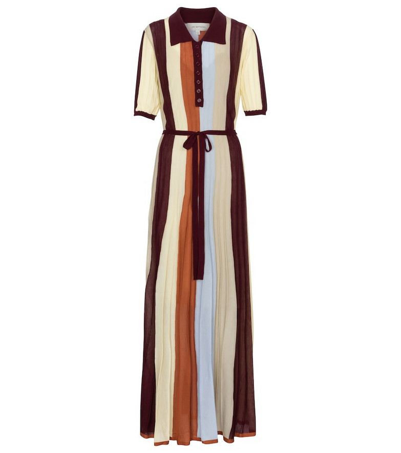 Lee Mathews Striped ribbed-knit maxi dress