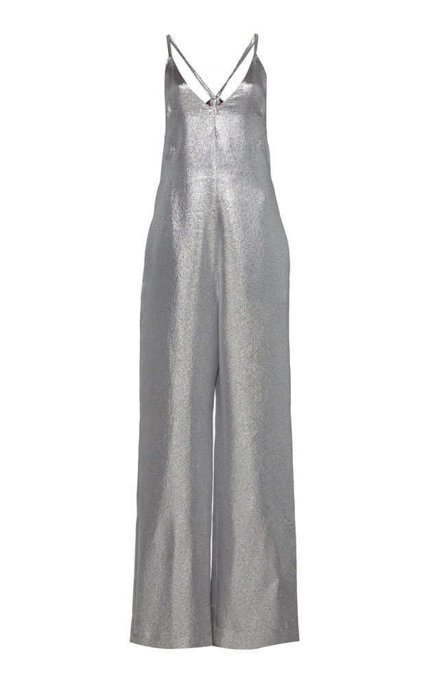 Tre by Natalie Ratabesi Lame Sleeveless Electra Jumpsuit in silver