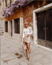 skirt,mini skirt,high waisted skirt,suede skirt,suede boots,heel boots,white sweater,bucket bag