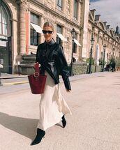 skirt,pleated skirt,white skirt,ralph lauren,black boots,black leather jacket,bag