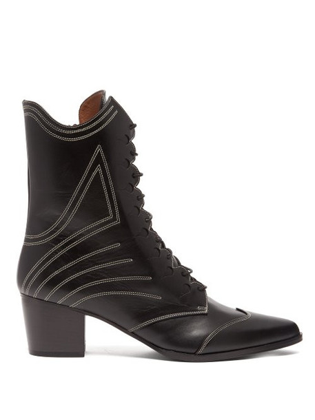 leather boots lace leather black shoes