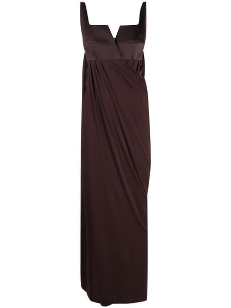 Bevza backless draped long dress in brown