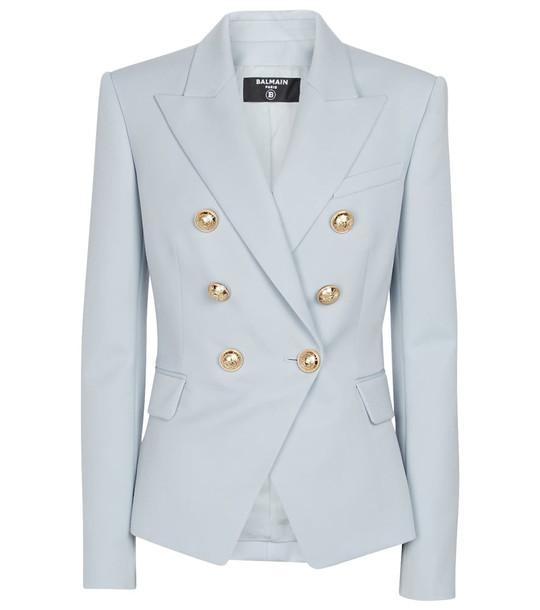 Balmain Double-breasted wool blazer in blue