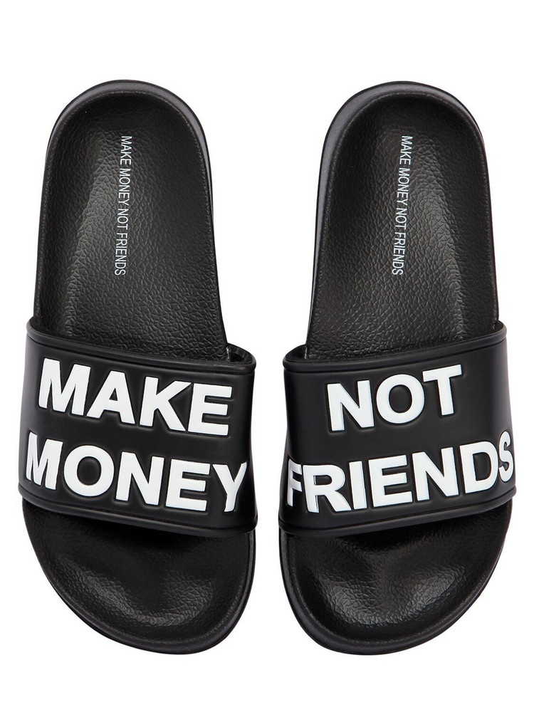 MAKE MONEY NOT FRIENDS Logo Slide Sandals in black